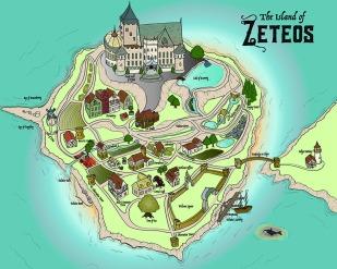 Fantastical Map (Island of Zeteos) - 2017, Adobe Illustrator