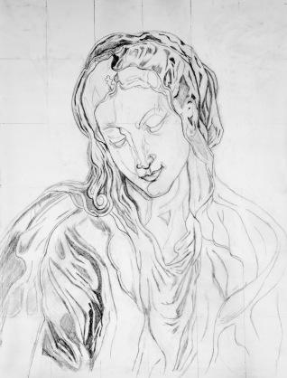 Van Dyck's Virgin Linework - 2017, Pencil on Tracing Paper