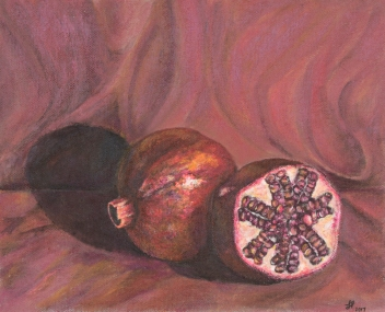 Still Life Pomegranate - 2017, Acrylic on Canvas